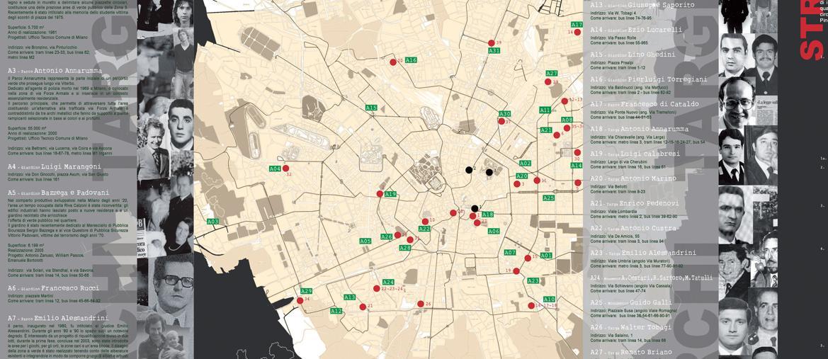 La mappa di Milano con i luoghi dove sono stati compiuti gli omicidi pianificati da elementi dell'eversione di sinistra e di destra durante gli Anni di Piombo