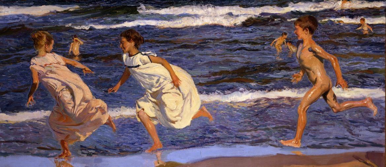 Running along the Beach, Valencia - Joaquín Sorolla 1908 - Oil on canvas, 90 × 166.5 cm - Museo de Bellas Artes de Asturias. Col. Pedro Masaveu