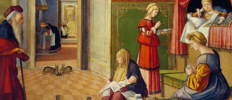 «Natività della Vergine» (particolare) dipinta per la Scuola degli Albanesi a Venezia, con una tabella in ebraico appesa al muro  della casa