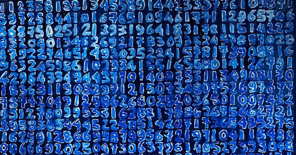 Giorgio Piccaia, Fibonacci blu, 2020, olio su tela, cm 140x110