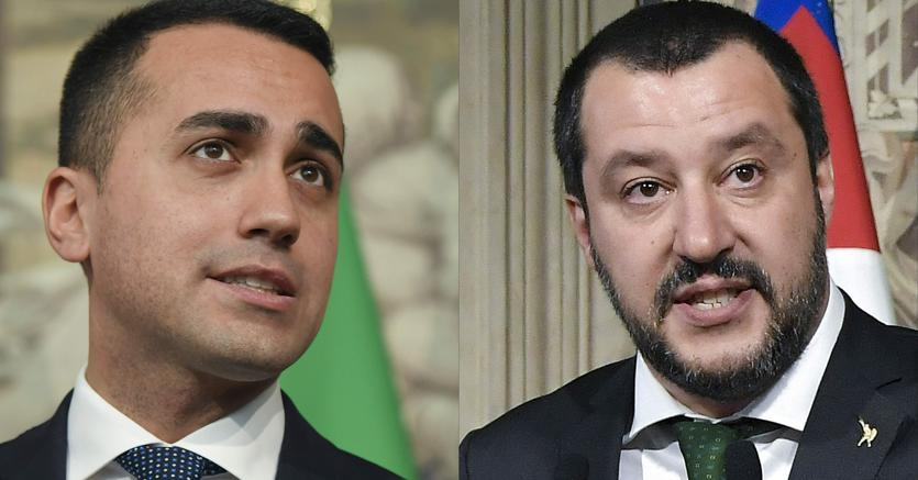 Da sinistra, Luigi Di Maio e Matteo Salvini (Afp(
