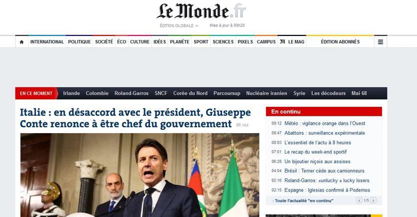 Le Monde apre l'edizione online con Giuseppe Conte e la crisi istituzionale italiana