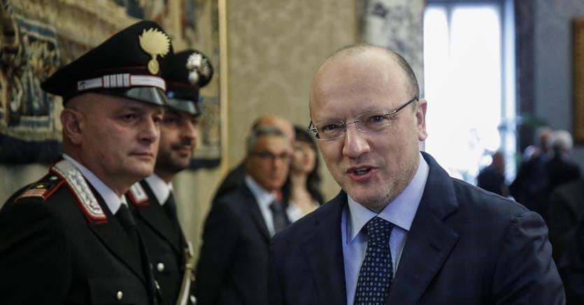 Vincenzo Boccia, a palazzo Koch per la relazione annuale della Banca d'Italia (Ansa)