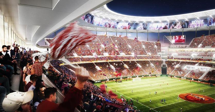 Un rendering del progetto dello stadio a Tor di Valle a Roma