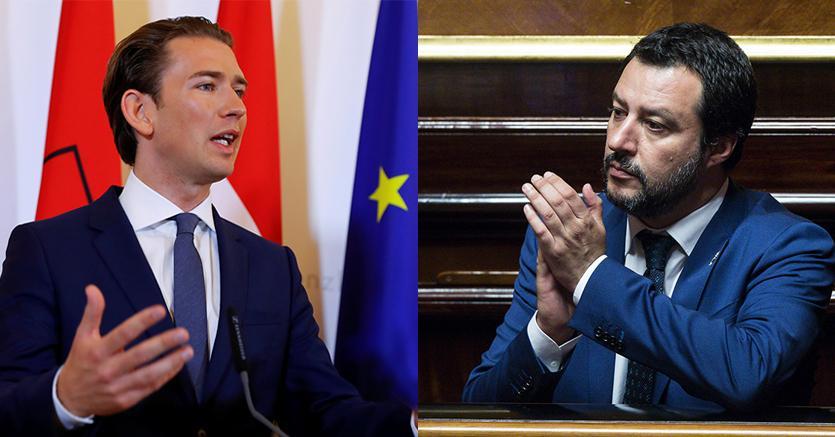 Da sinistra a destra, Sebastian Kurz (Reuters) e Matteo Salvini (Ansa)