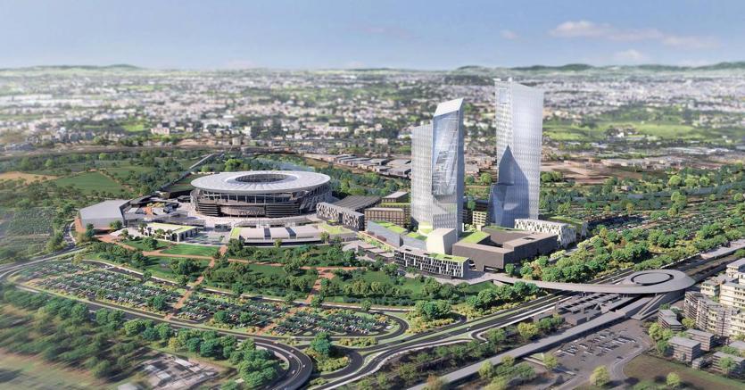 Un rendering del progetto dello stadio a Tor di Valle dove dovrebbe sorgere il nuovo impianto dell'AS Roma