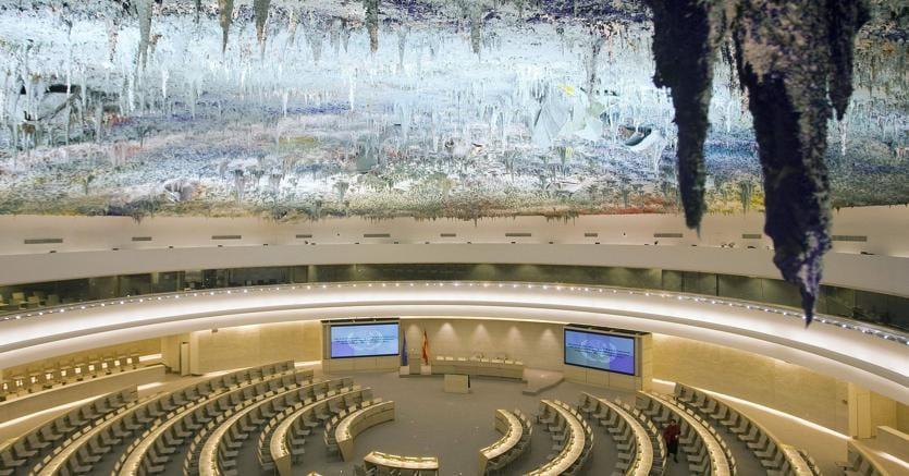 L'aula del Consiglio per i diritti umani nella sede delle Nazioni Unite a Ginevra