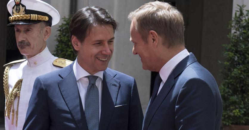 Il premier Giuseppe Conte e Donald Tusk (Ansa)