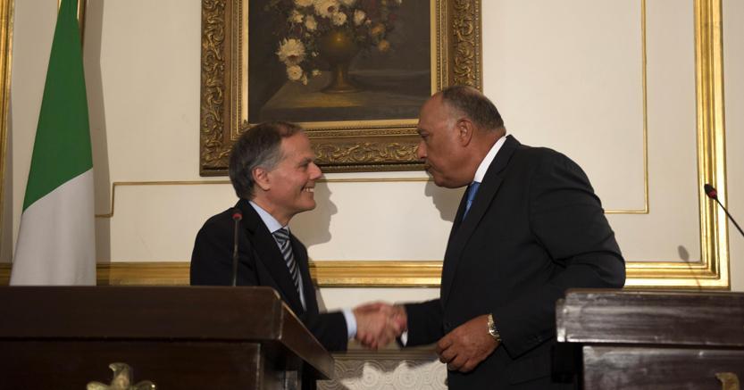 Domenica il ministro degli Affari esteri Enzo Moavero Milanesi ha incontrato il capo della diplomazia egiziana Sameh Shoukry  (foto Epa)