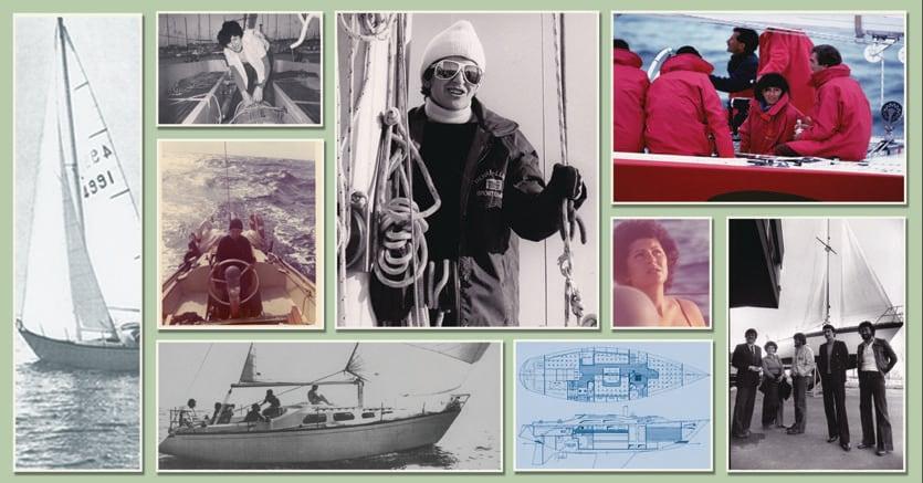 Ostar 1976. Ida Castiglioni ha trent'anni e porta a termine la Ostar, la regata transatlantica per navigatori solitari che parte da Plymouth (Inghilterra) e arriva a Newport (Rhode Island). Si classifica 30esima in tempo compensato su 121 partenti e prima degli italiani in gara (42esima in tempo reale). Nel collage fotografico alcuni dei momenti della carriera velistica di Ida Castiglioni, tra cui le foto e i disegni originali di «Eva», la barca con la quale compì l'impresa, un'uscita con il Moro di Venezia (con Paul Cayard al timone, skipper, in blu) e, qui accanto, in una foto con, tra gli altri, Ambrogio Fogar