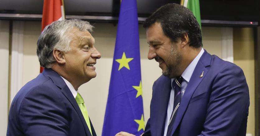 Matteo Salvini all'incontro con il primo ministro ungherese  Viktor Orban