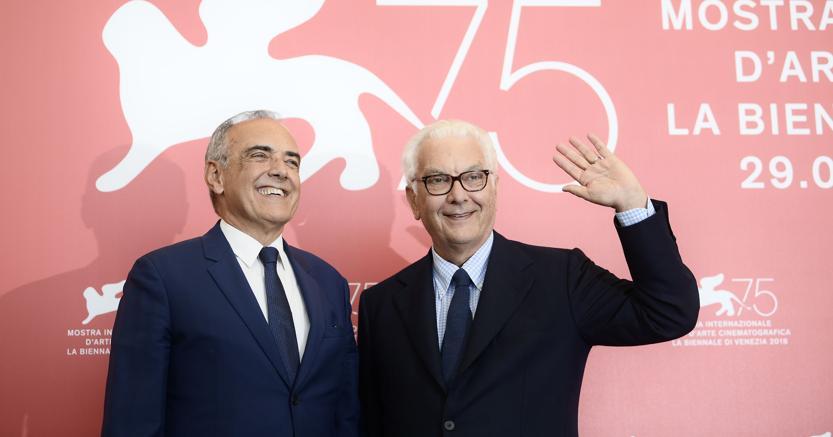 Il direttore  Alberto Barbera (a sinistra) e il presidente della Biennale, Paolo Baratta(Afp)
