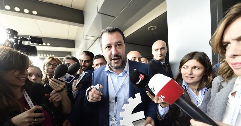 Matteo Salvini a Mosca incontra gli imprenditori italiani attivi in quel mercato (foto Ansa)