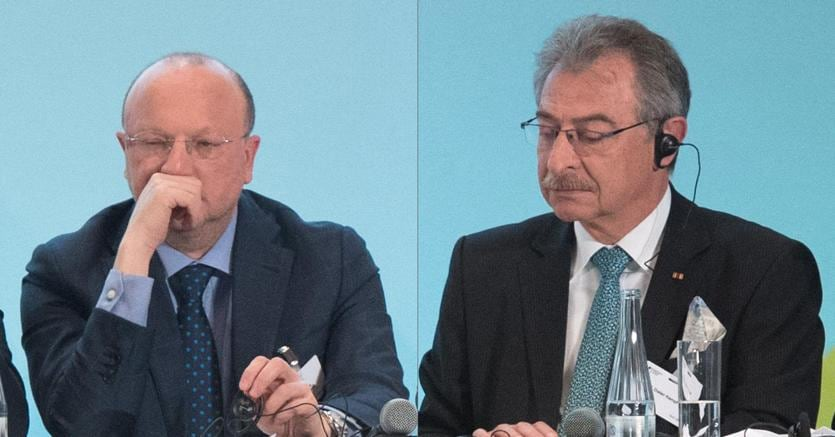 Vincenzo Boccia insieme a Dieter Kempf  (Ansa)