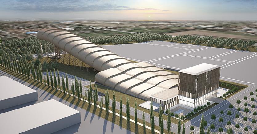 Il rendering del progetto Skidome voluto da Marco Brunelli per il Centro commerciale di Arese. In primo piano la struttura dell'hotel, il ristorante e la zona d'arrivo delle piste da discesa (Foto AMDL)