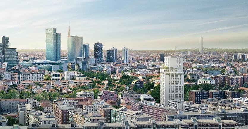 Sulla destra la nuova torre che sorgerà a Milano:inizio dei lavori previsto per il 2019