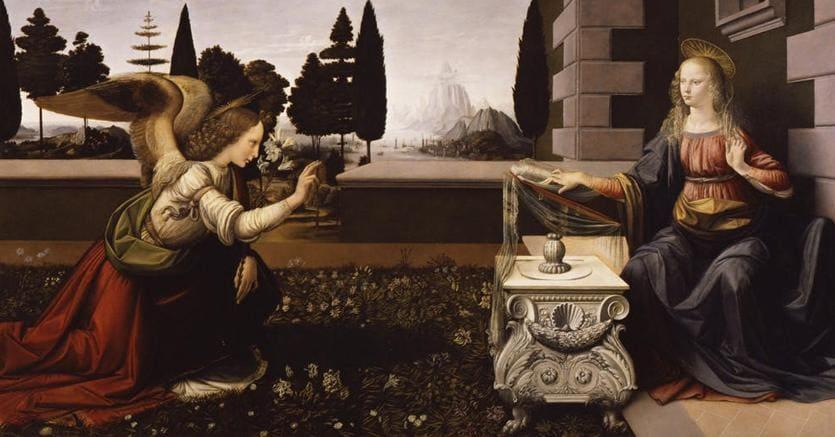 """""""L'Annunciazione"""" di Leonardo, attualmente esposta agli Uffizi . È tra le 26 opere, tra quadri e disegni, realizzati dal grande artista che la Francia vorrebbe ricevere in prestito per l'allestimento della mostra al Louvre che il prossimo anno celebrerà i 500 anni dalla morte"""