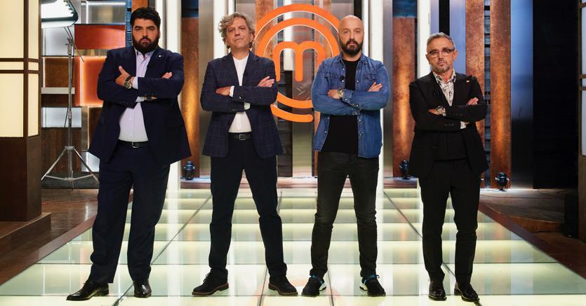 I giudici dell'VIII edizione di Masterchef Italia. Da sinistra, Antonino Cannavacciuolo, Giorgio Locatelli, Joe Bastianich e Bruno Barbieri