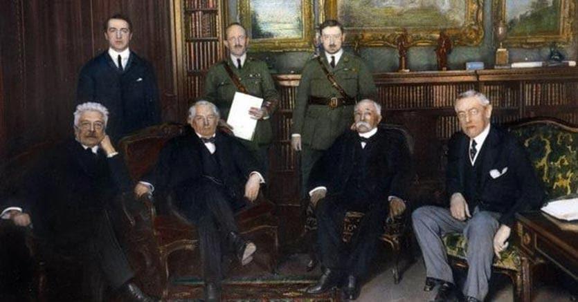 I «quattro grandi» patecipanti alla Conferenza di Pace di Parigi: da sinistra a destra Vittorio Orlando, David Lloyd George, Georges Clemenceau e Woodrow Wilson. Granger NYC/© Granger NYC/Rue des Archives