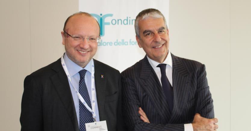 Il presidente di Confindustria Vincenzo Boccia con il presidente di Fondimpresa Bruno Scuotto