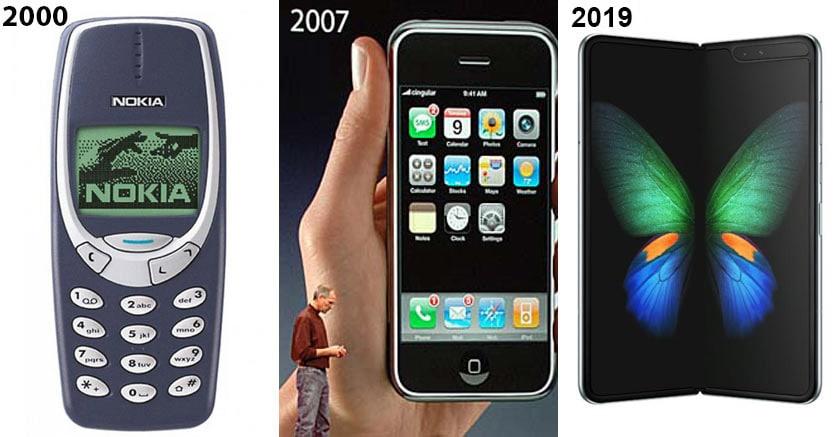 Il vecchio Nokia 3310  del 2000, il primo iPhone e l'ultimo smartphone pieghevole Samsung