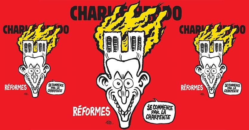 Macron in fiamme: la vignetta di Charlie Hebdo sul rogo della cattedrale di Parigi