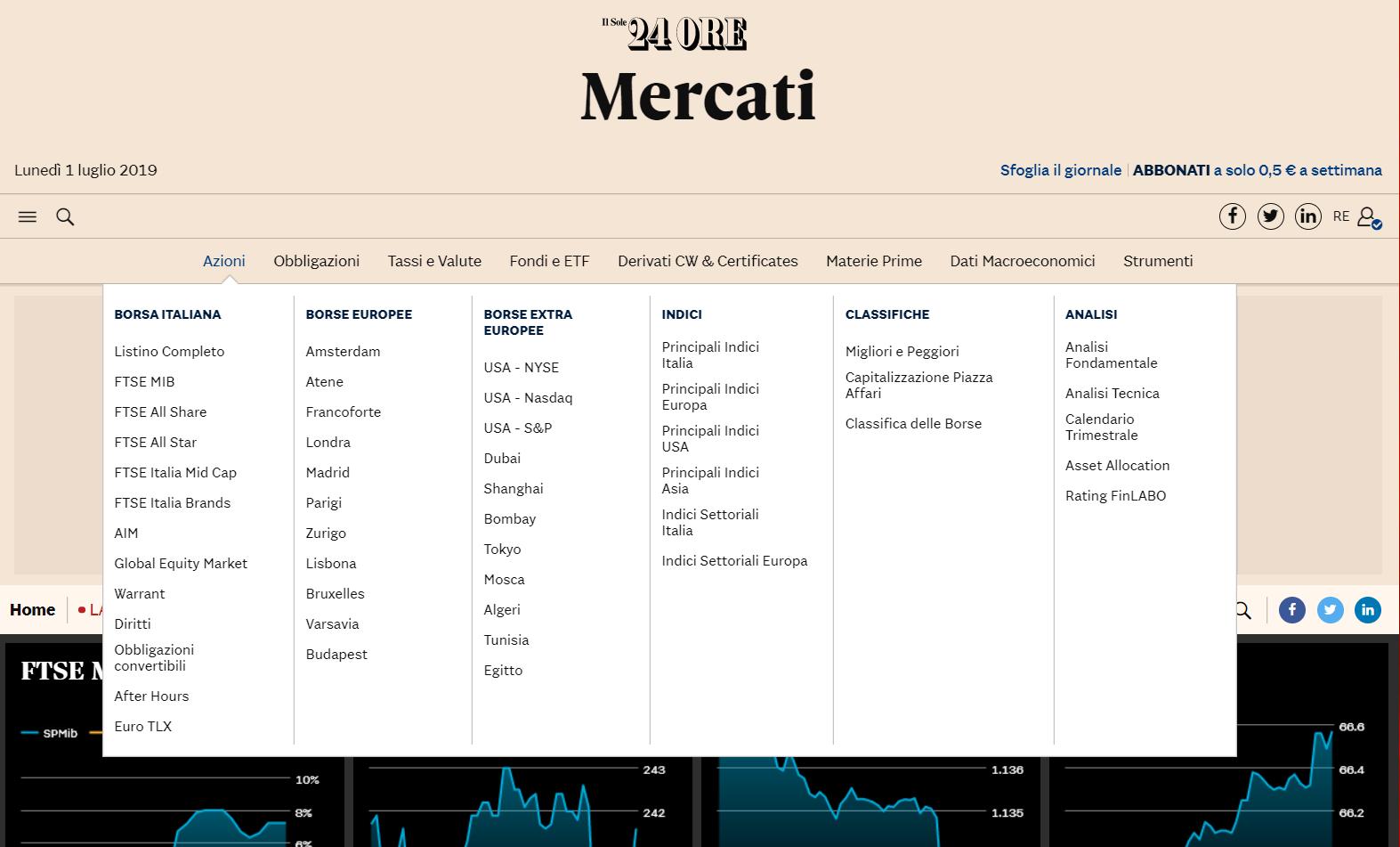 nuovo di zecca più economico nuova collezione Guida alla nuova pagina Mercati. Più indici, quotazioni e un ...