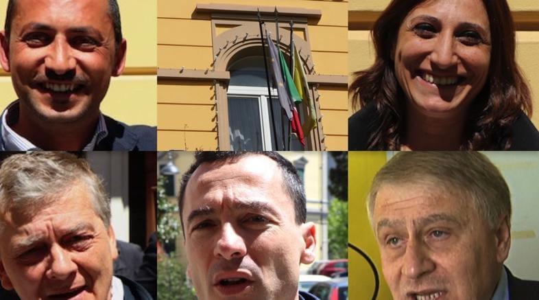 I candidati sindaco Mario Guarente (in alto a sinistra) Bianca Andretta, Valerio Tramutoli,  Marco Falconeri e Giuseppe Ferraro