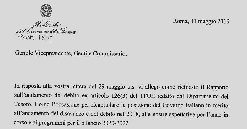 8d09245f3f Ecco la lettera inviata da Tria alla Ue dopo lo scontro nel governo - Il  Sole 24 ORE