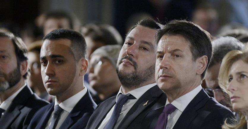 Da sinistra a destra, Luigi Di Maio, Matteo Salvini e Giuseppe Conte