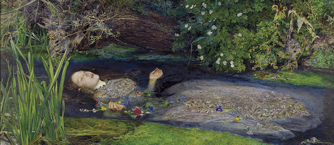 John Everett Millais, «Ofelia», 1851-52. Olio su tela, cm 76,2 x 111,8. Tate. Donato da Sir Henry Tate nel 1894. ©Tate, London 2019
