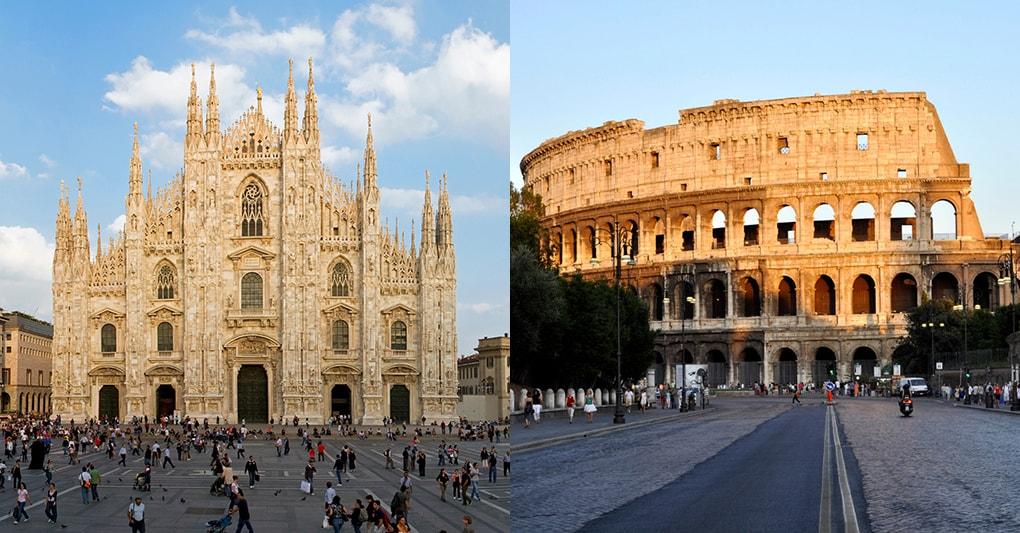 Duomo di Milano e Colosseo a Roma