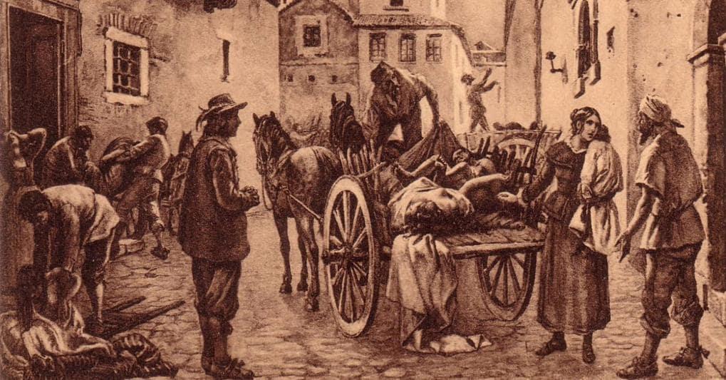 Stampa antica della peste di Milano del '600 rappresentante carretto con cadaveri