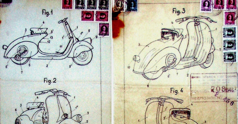 Idisegni originali allegati al brevetto della Vespa Piaggio depositato il 23 aprile del 1946