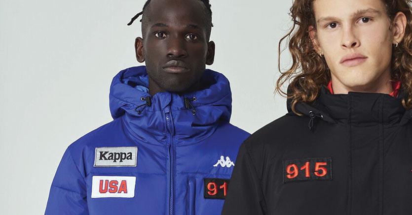 Piumini a marchio Kappa della collezione per l'autunno-inverno prossimo, in stand a Pitti da oggi