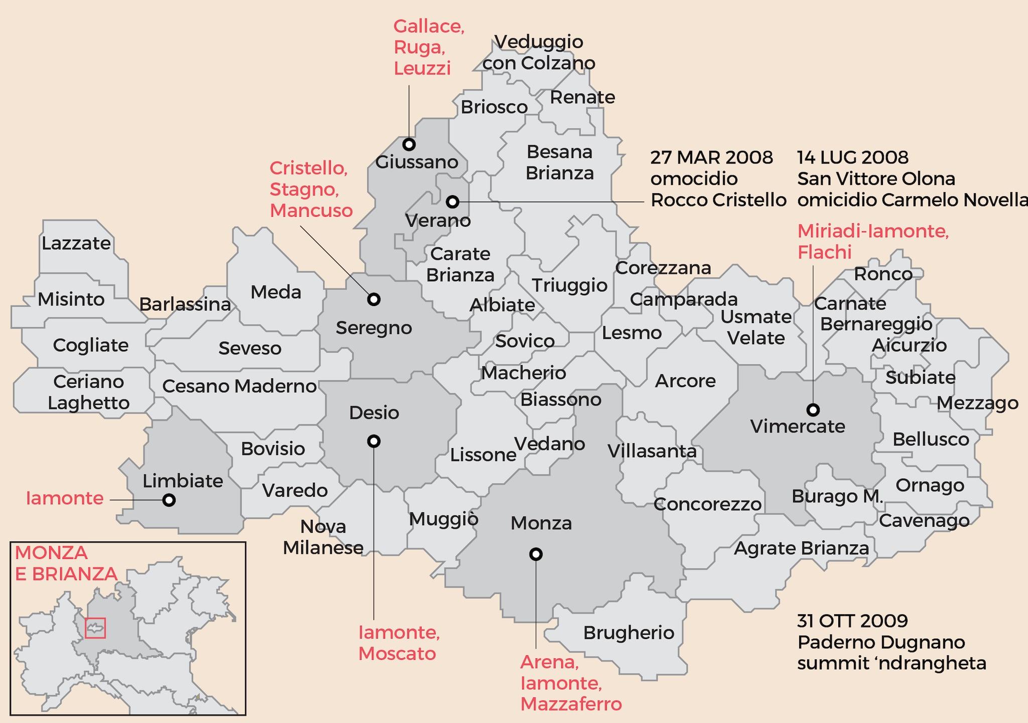 MAPPA DELLE 'NDRINE NELLA PROVINCIA DI MONZA E BRIANZA