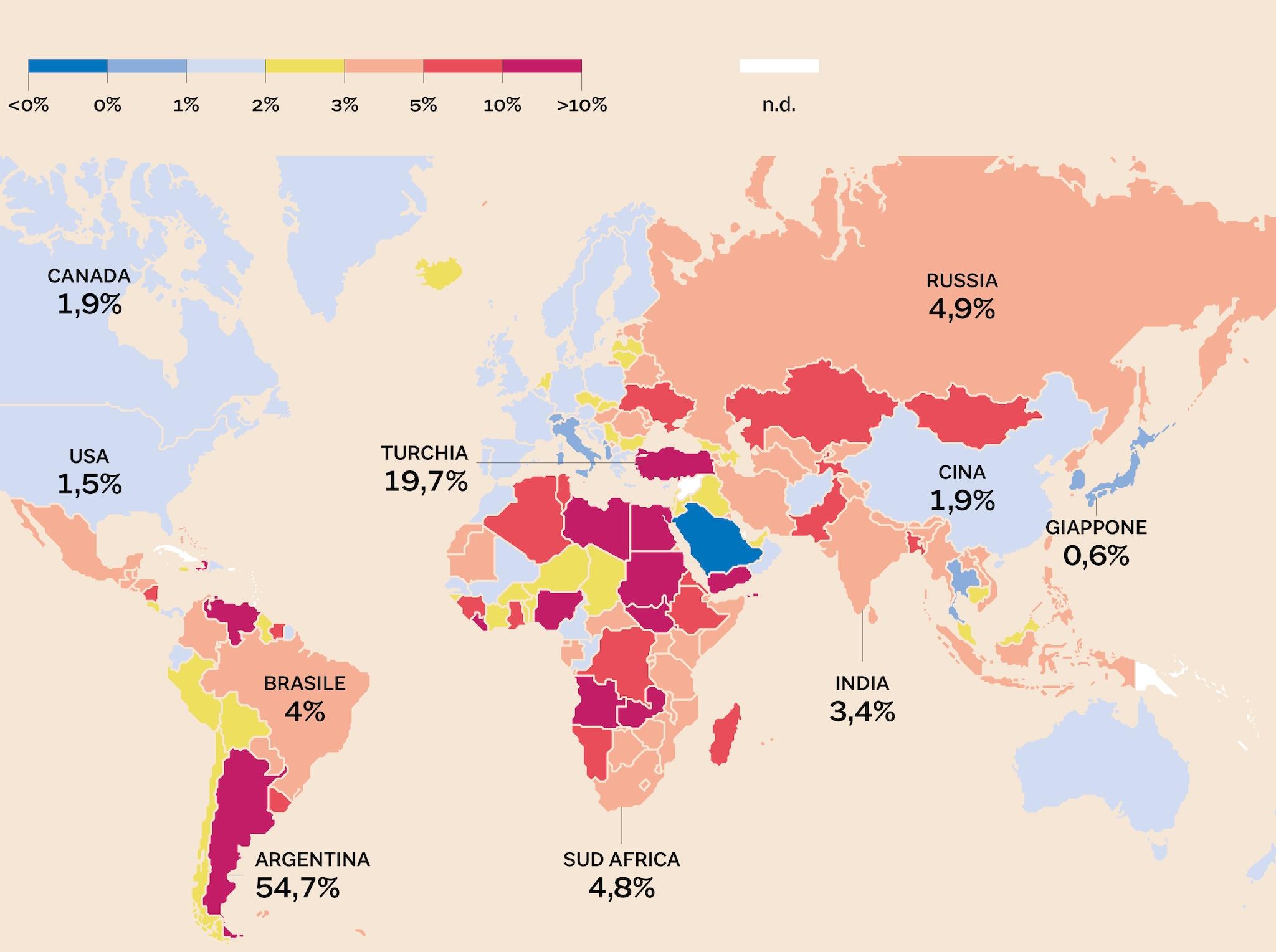 LAMAPPADELL'INFLAZIONE A LIVELLO GLOBALE