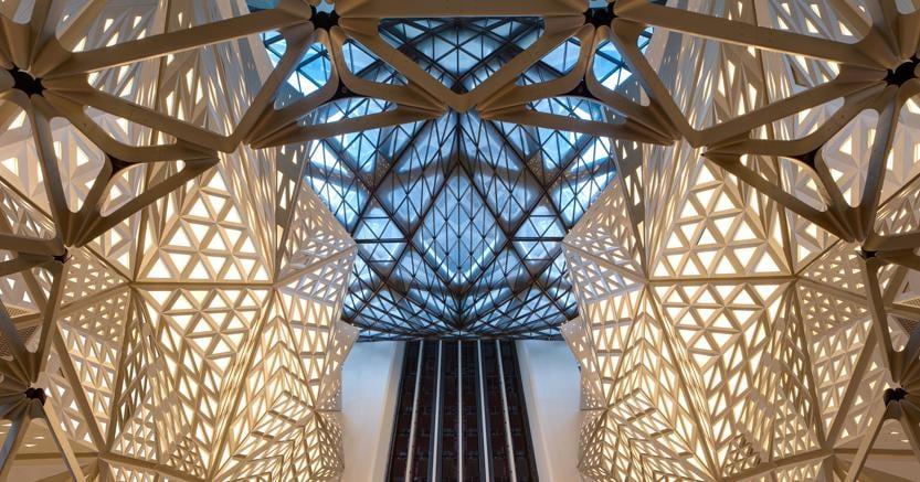 Un particolare dell'Hotel Morpheus di Macao progettato da Zaha Hadid Architects