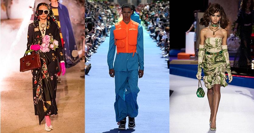 Nella foto in alto, da sinistra, un look Gucci, uno di Vuitton per la P-E 2019 e uno di Moschino per l'autunno-inverno 2019-2020