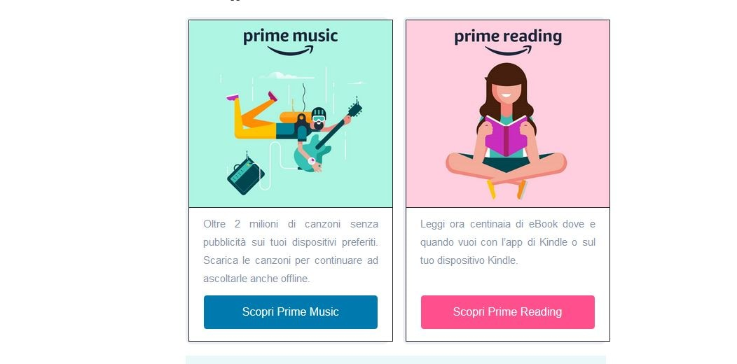 I claim di Amazon Prime Music e Prime Reading