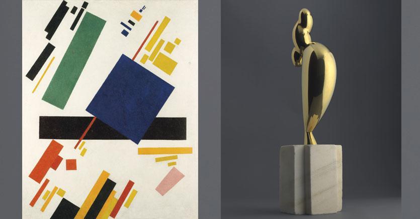 Kazimir Malevich (1878-1935)- Suprematist Composition;  Constantin Brancusi  (1876-1957) - La jeune fille sophistiquée (Portrait de Nancy Cunard)