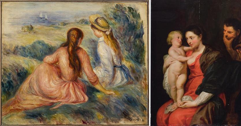 """""""Le fanciulle sul prato"""" di Pierre- Auguste Renoir (1841-1919) olio su tela  e la """"Sacra Famiglia"""" di Pieter Paul Rubens (1577-1640), olio su tavola"""