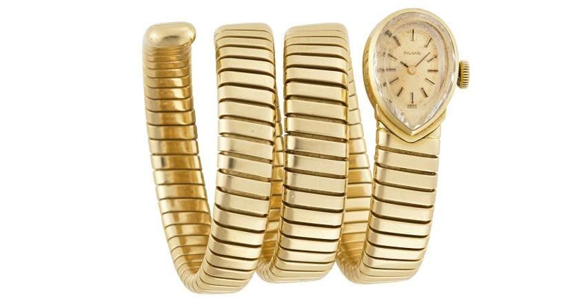 Il Ponte Casa d'aste. Orologio da polso da donna Bulgari in oro bianco con bracciale tubogas anni '70-80 con movimento a carica manuale, stimato 5.500-6.000 euro, realizzo 12.500 euro