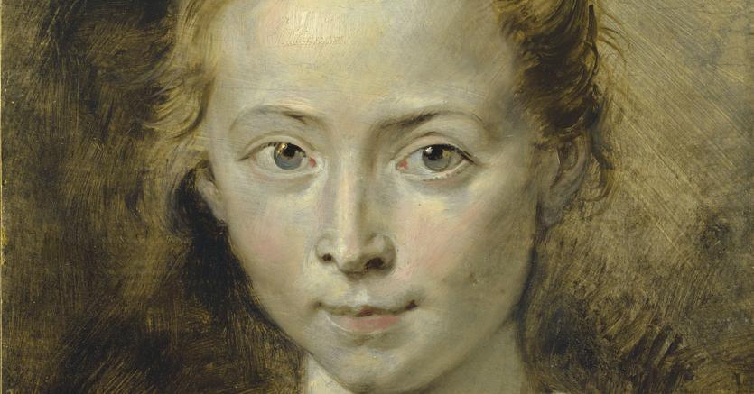 Sir Peter Paul Rubens (Siegen 1577-1640 Antwerp), «Ritratto di Clara Serena Rubens», figlia dell'artista. Olio, 36,2 x 26,4 cm. Stima:  £ 3.000.000-5.000.000. All'asta all'Old Masters il 5 luglio da Christie's a Londra