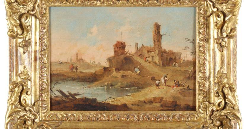 Paesaggio di fantasia con torri rustiche e corso d'acqua, Olio su tavola, cm. 17x23,5