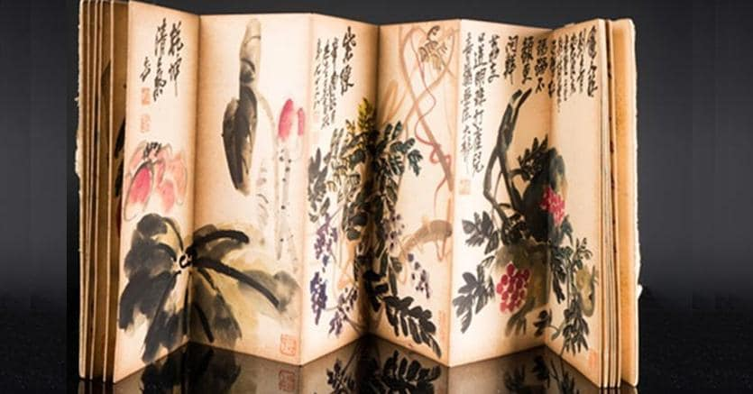 Arte CineseQuaderno con disegni di fiori ed iscrizioni firmato Wu Changshuo (1844-1927) Inchiostro e colori su carta41,50 x 17,50 x 0,00 cmContenente 12 acquerelli su carta, ognuno raffigurante un fiore diverso. Iscrizioni con sigilli su ogni tavola. Copertina ricoperta in seta verde decorata a motivo vegetale.Stima minima/massima: 2.000 € - 3.000 €Base d'asta: 1.500 €Aggiudicazione: 17.690 €Courtesy Capitoliumart