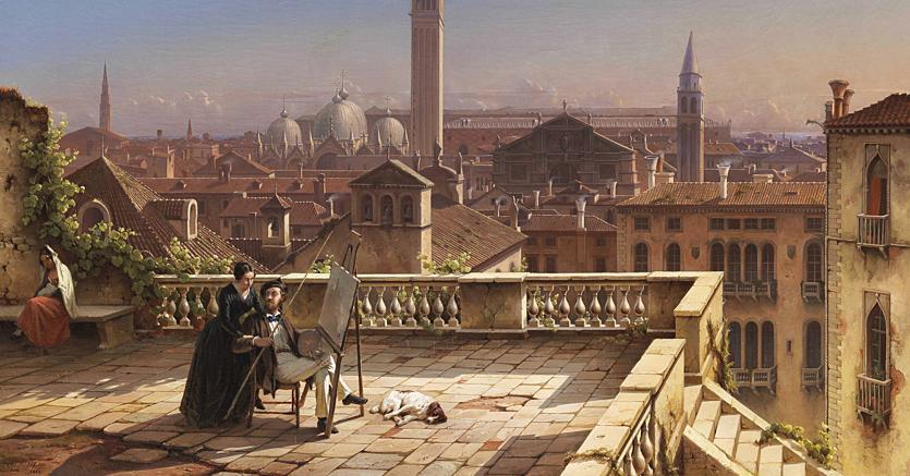 "Galleria Antonacci Lapiccirella Fine Art ""Veduta di Venezia da una terrazza"" del 1849 di Julius Eduard Wilhelm Helfft, 62,6x94 cm, (offerto a circa 200mila dollari)"