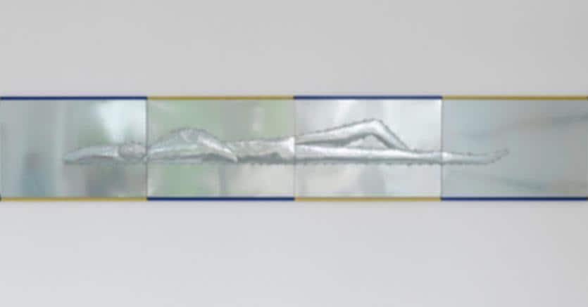Rodrigo Hernandez, Plasma (Dinosaur), 2017, acciaio zincato e legno colorato, quattro pannelli metallici 65 x 85 cm, ciascuno; dimensioni di installazione variabili (foto courtesy: Madragoa, Lisbona)