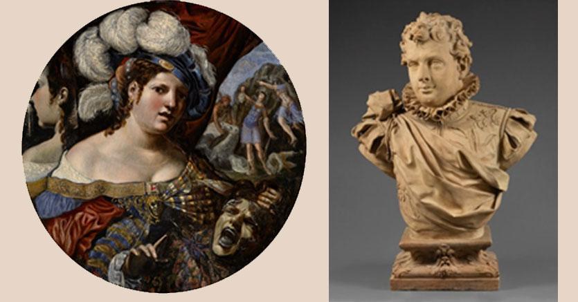 """Pseudo Caroselli """"Una maga con la testa di Medusa, la nascita di Pegaso sullo sfondo"""" e Giuseppe Maria Mazza """"Ritratto di un giovane nobiluomo, probabilmente Alessandro o Ludovico Fava"""""""