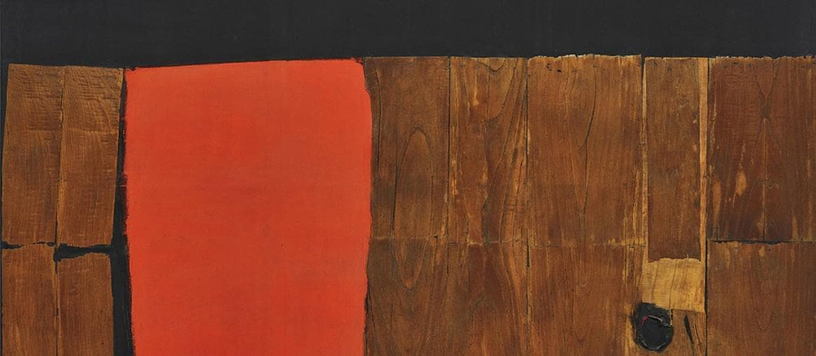 """ALBERTO BURRI. """"Grande legno e rosso"""", signed and dated """"Burri 57-59"""" on the reverse, wood, acrylic and combustion on canvas, (150 x 250 cm.). Executed in 1957-1959. Estimate $10,000,000 - 15,000,000. LOT NOT SOLD"""